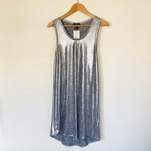 H&M Silver Metallic Racerback Tank Dress